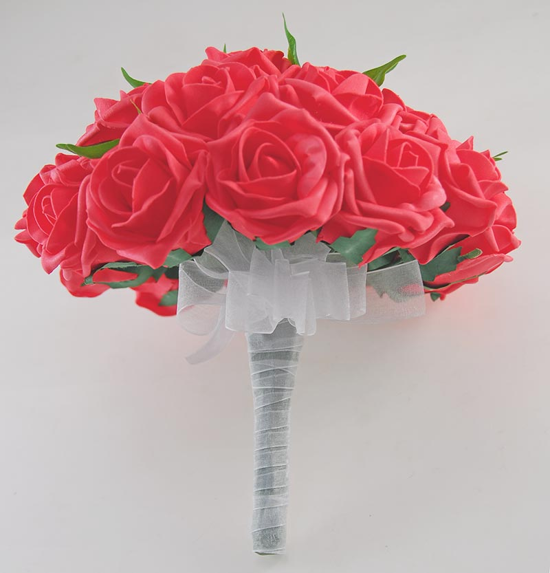 Brides Coral Orange Artificial Rose Wedding Bouquet