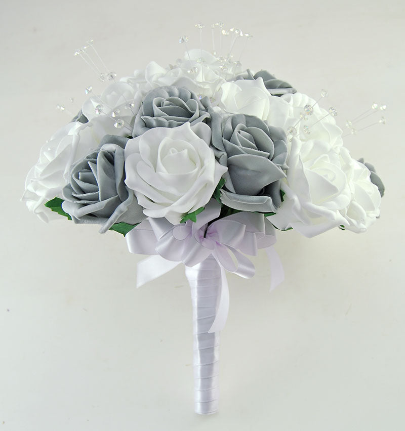 Brides Dark Grey, White Rose & Crystal Wedding Bouquet