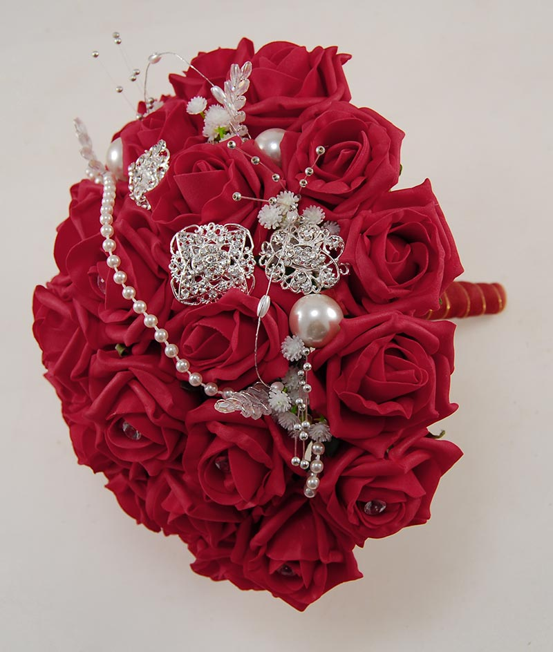 Brides Diamante Red Rose, Silver Brooch & Pearl Wedding Bouquet