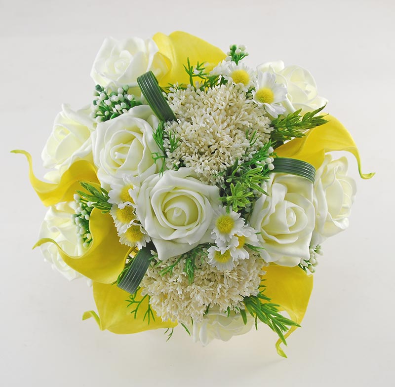 Brides Elderflower, Rose & Yellow Calla Lily Wedding Bouquet