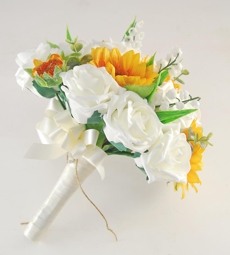 Brides Golden Sunflower, Ivory Rose & Lilly of the Valley Wedding Bouquet