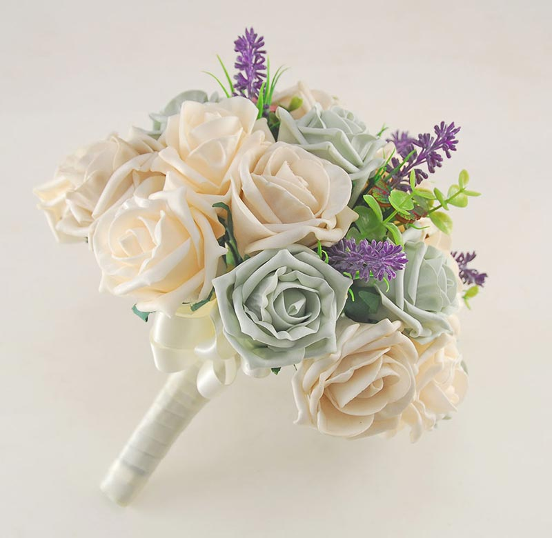 Brides Grey, Mocha & Cream Rose Wedding Bouquet with Lavender, Wooden Butterflies