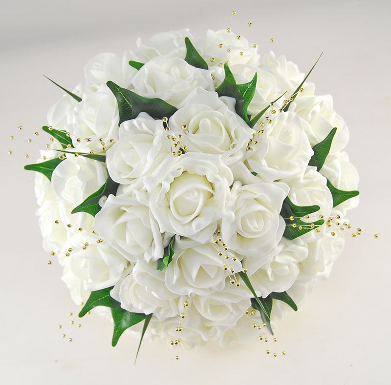 Brides Ivory Foam Rose, Gold Pearl Wedding Bouquet