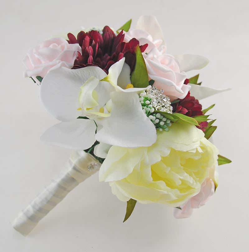Brides Ivory Lilly, Pink Rose & Purple Gerbera Brooch Wedding Bouquet