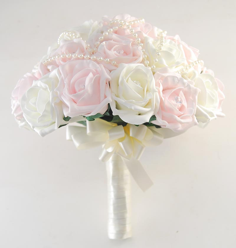 Brides Ivory & Light Pink Foam Diamante Rose Wedding Bouquet with Pearls