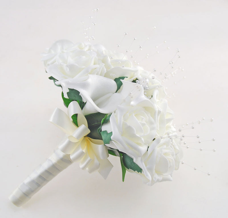 Brides Ivory Rose & Calla Lily Wedding Posy with Pearls
