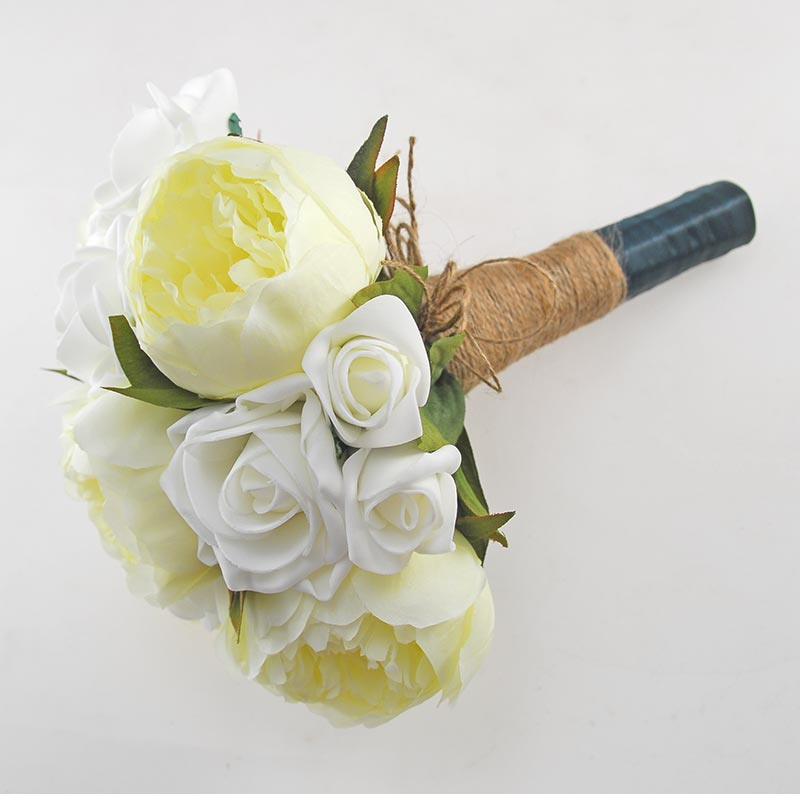 Brides Ivory Rose & Silk Peony Wedding Bouquet with Twine Stem