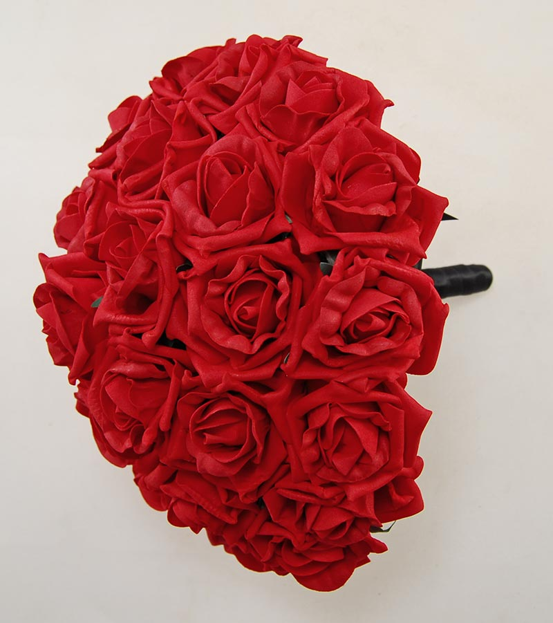 Brides Large Artificial Red Rose Wedding Posy Bouquet
