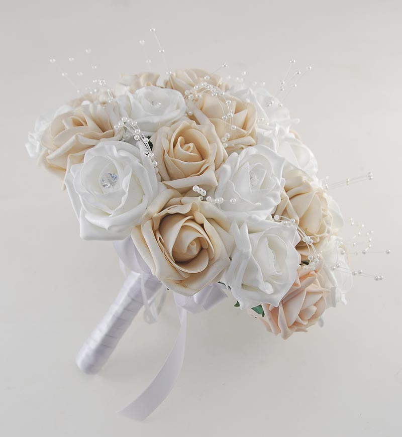 Brides Large Mocha & White Diamante Foam Rose Brooch Wedding Bouquet
