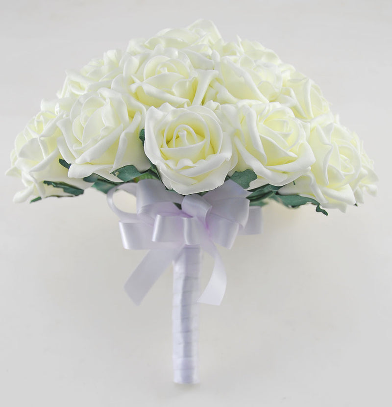 Brides Lemon Foam Rose Wedding Posy Bouquet