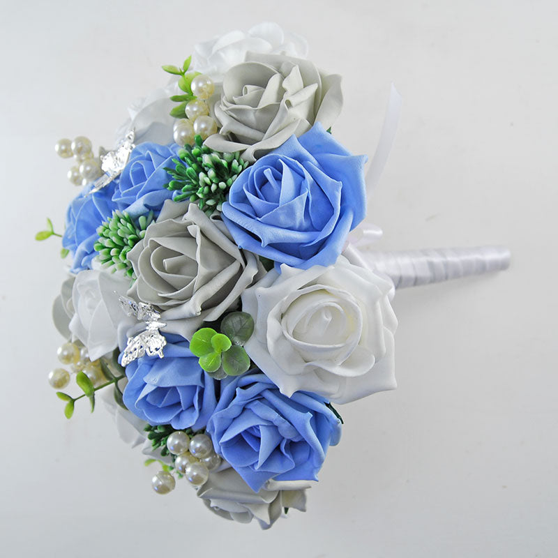 Brides Light Blue, White & Grey Rose Gyp, Pearl & Butterfly Wedding Bouquet
