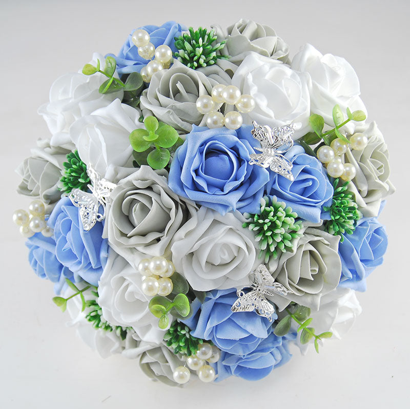Blue And White Flowers For Weddings: Brides Light Blue, White & Grey Rose Gyp, Pearl