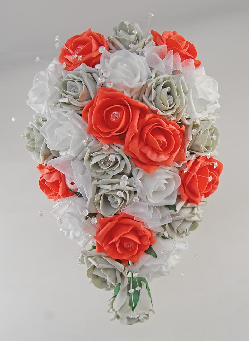 Brides Light Grey, Coral & White Diamante Rose Wedding Shower Bouquet