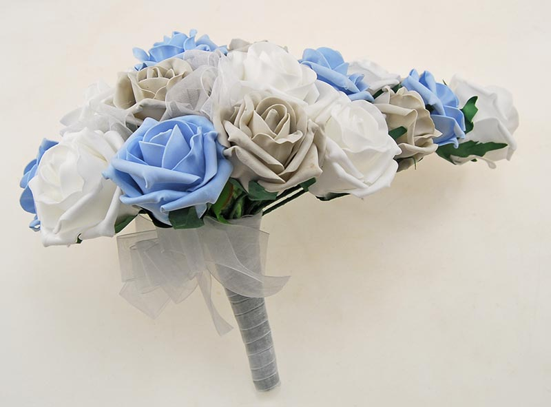 Brides Light Grey, Light Blue, White Foam Rose Wedding Shower Bouquet