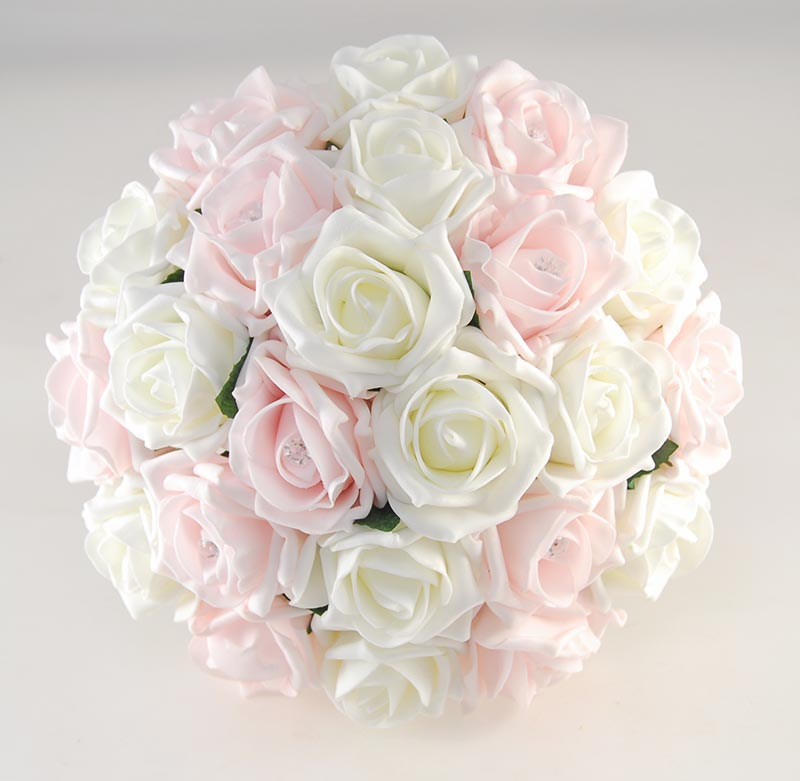 Wedding Flowers On A Budget Uk: Brides Light Pink & Ivory Artificial Foam Rose Wedding