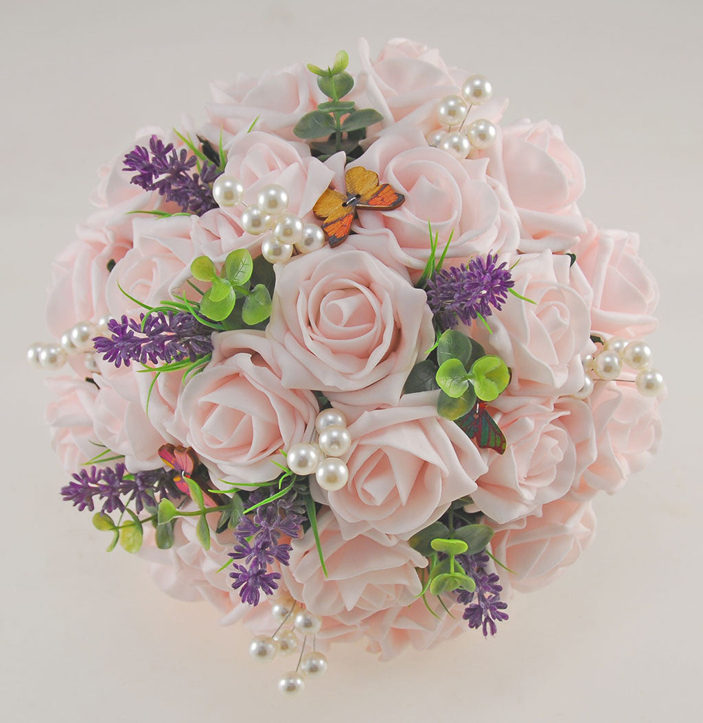 Brides Light Pink Rose Wedding Posy With Lavender Pearls