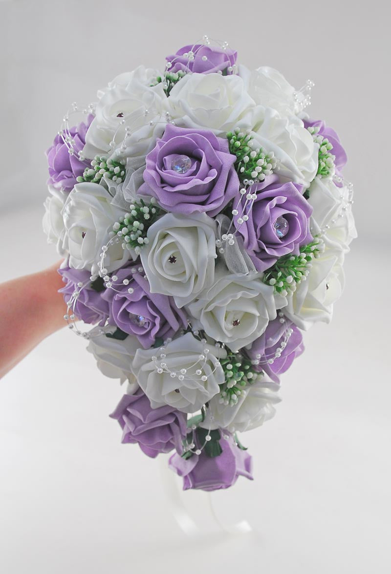 Brides Lilac Ivory Rose Amp Gypsophila Wedding Shower Bouquet Budget Wedding Flowers
