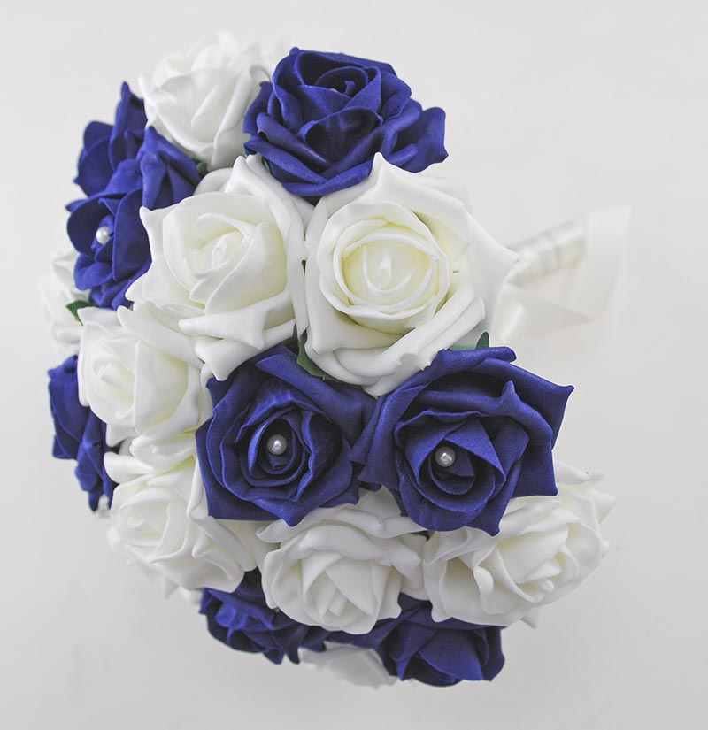 Brides Navy Blue & Ivory Artificial Rose Wedding Bouquet with Pearls