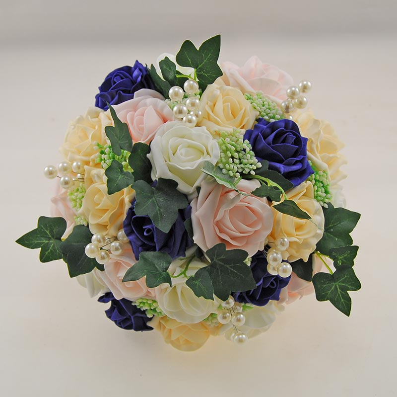 Brides Navy Cream Pink Rose & Gypsophila Pearl Wedding Bouquet