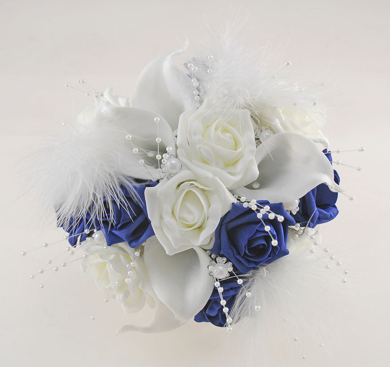 Brides Navy Rose, Ivory Calla Lily & Feather Wedding Posy with Pearls