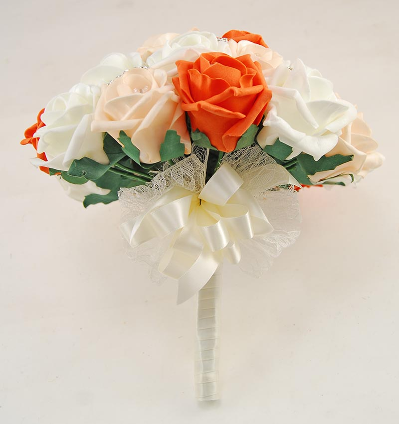 Brides Orange, Cream, Ivory Diamante Rose & Silver Brooch Wedding Bouquet