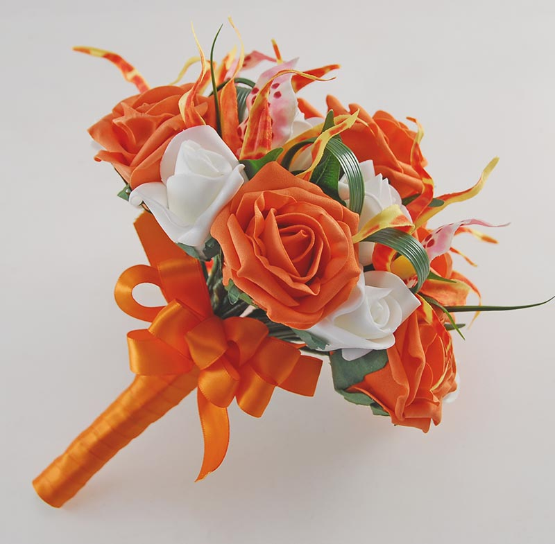 Brides Orange, Ivory Rose & Silk Brassia Orchid Wedding Bouquet