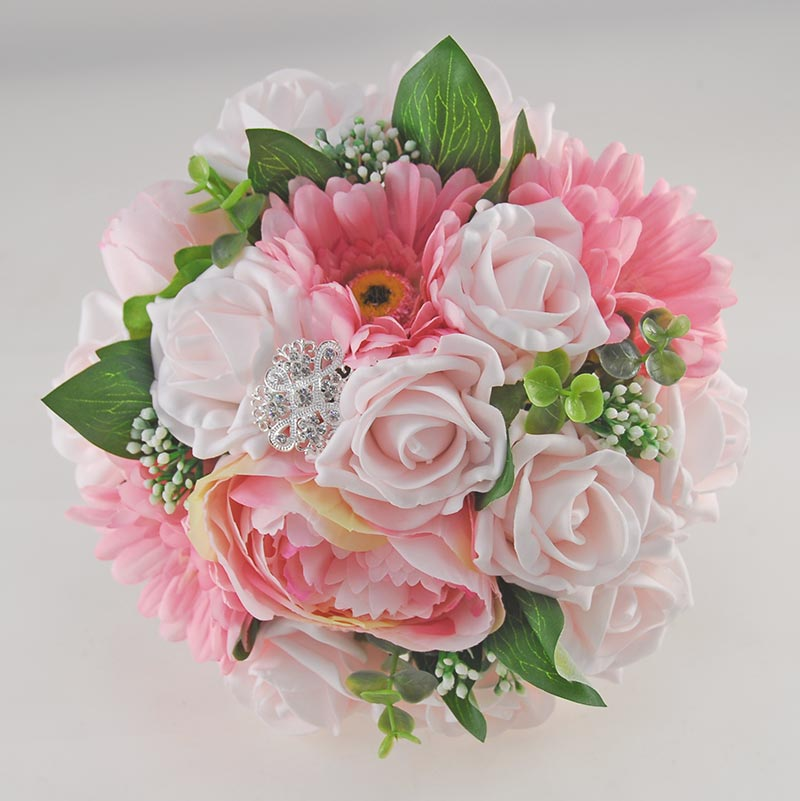 Brides Pale Pink Rose, Silk Gerbera & Peony Wedding Bouquet