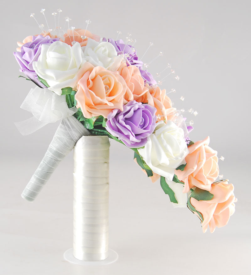 Brides Peach, Lilac & Ivory Diamante Rose & Crystal Wedding Shower Bouquet