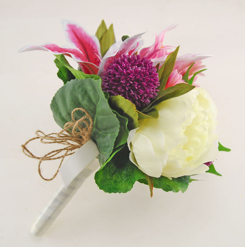Brides Pink Lily, Ivory Peony & Rose Wedding Bouquet