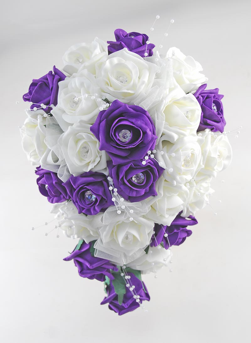 Brides Purple, Ivory Diamante Rose & Pearl Wedding Shower Bouquet