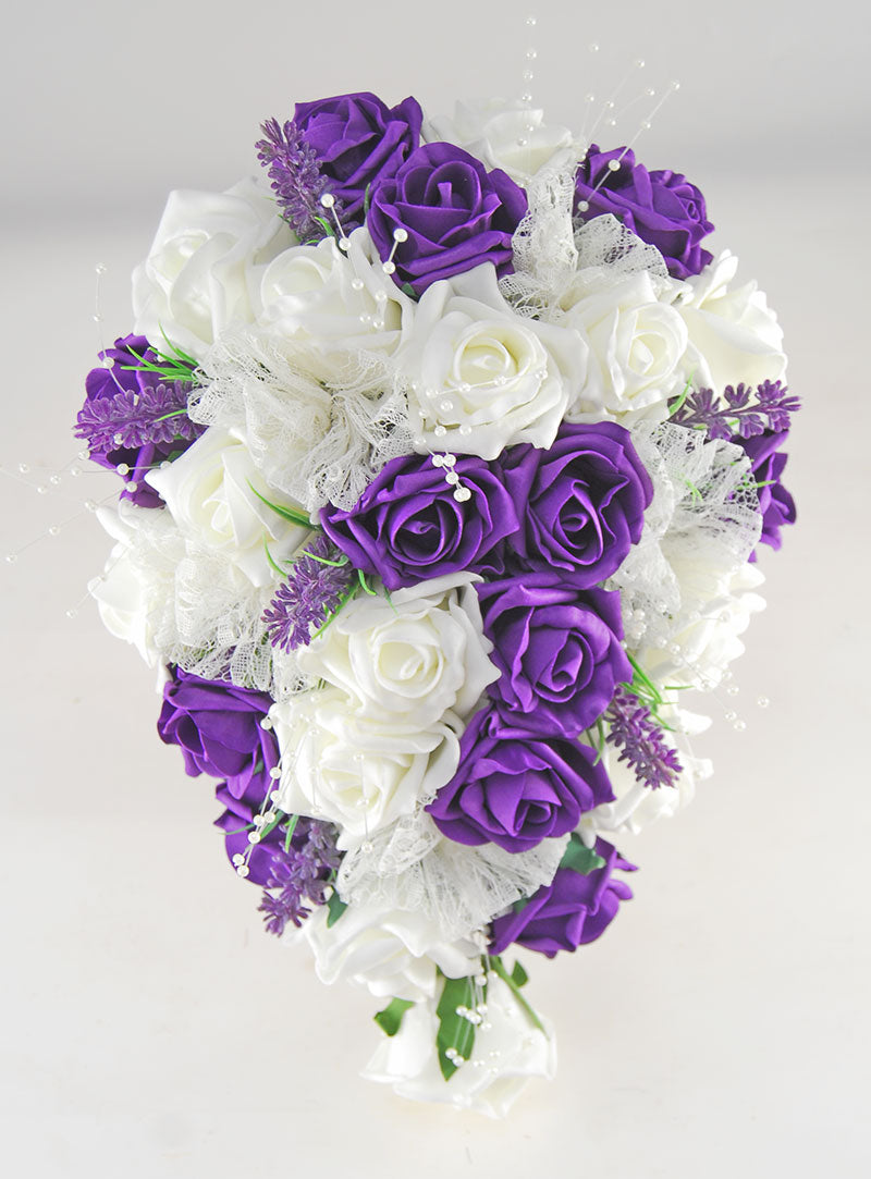 Brides Purple, Ivory Rose, Lavender, Lace & Pearl Wedding Shower Bouquet