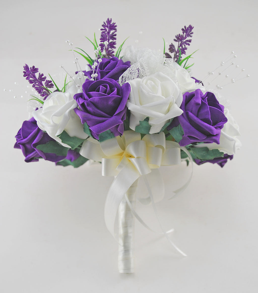 Wedding Flowers On A Budget Uk: Brides Purple & Ivory Rose Wedding Bouquet With Lavender