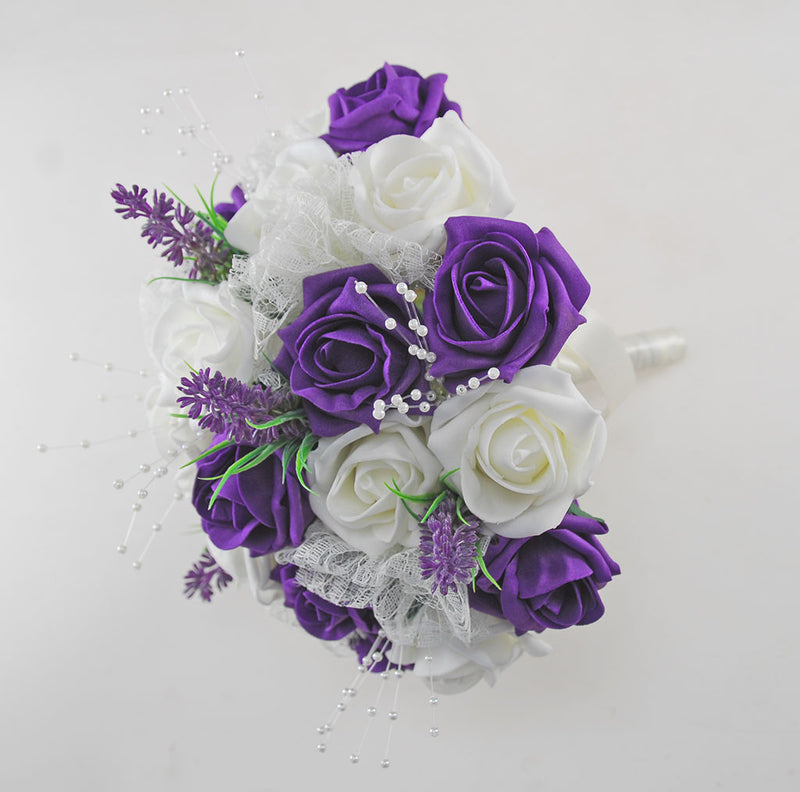 Brides Purple & Ivory Rose Wedding Bouquet with Lavender