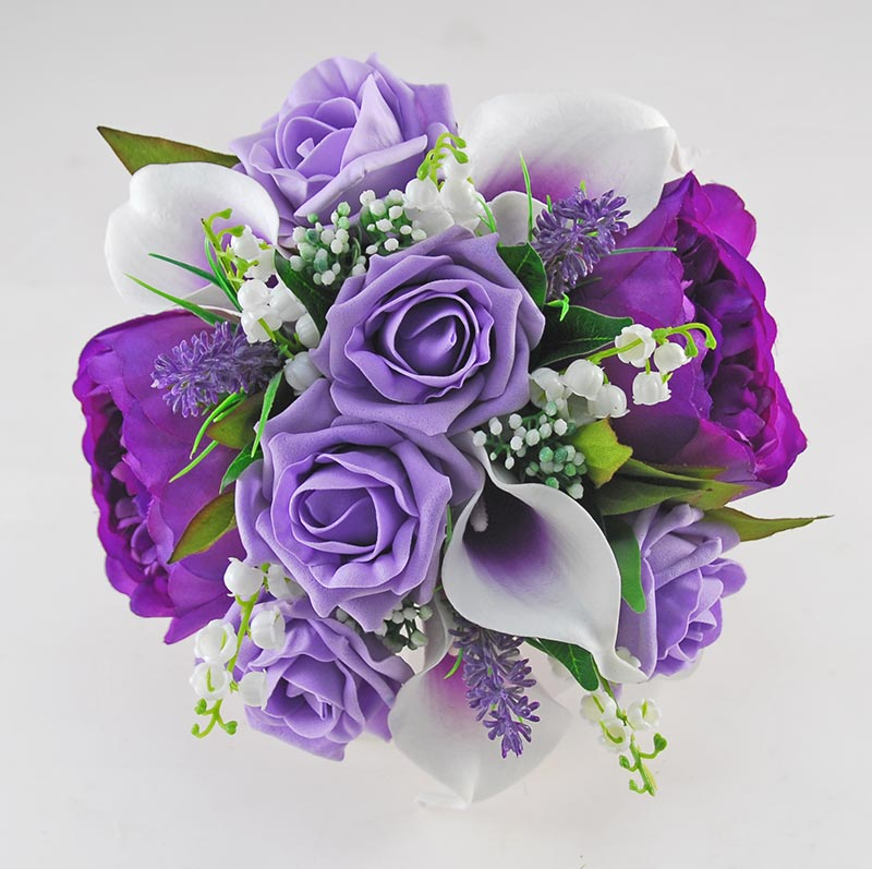 Brides Purple Peony, Calla Lily, Rose & Lilly of the Valley Wedding Bouquet