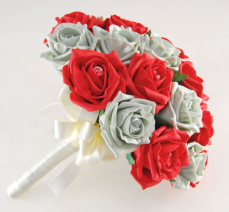 Brides Red & Grey Diamante Rose Artificial Wedding Bouquet