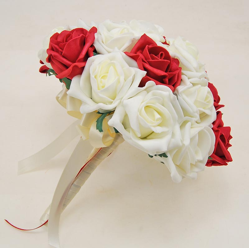 Brides Red & Ivory Artificial Foam Rose Wedding Posy Bouquet