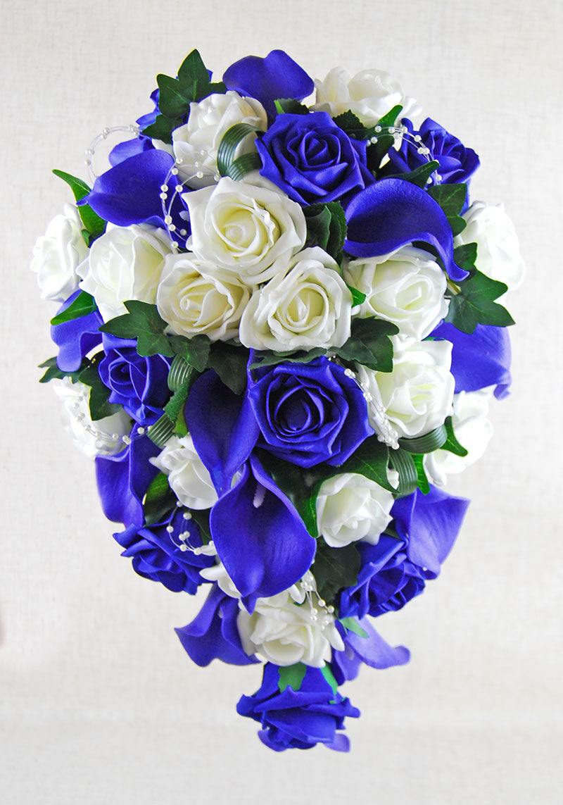 Brides Royal Blue Calla Lily & Ivory Rose Pearl Wedding Shower