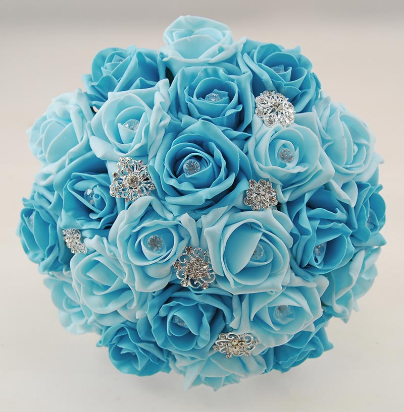Brides Turquoise, Aqua Blue Diamante Rose & Brooch Wedding Bouquet