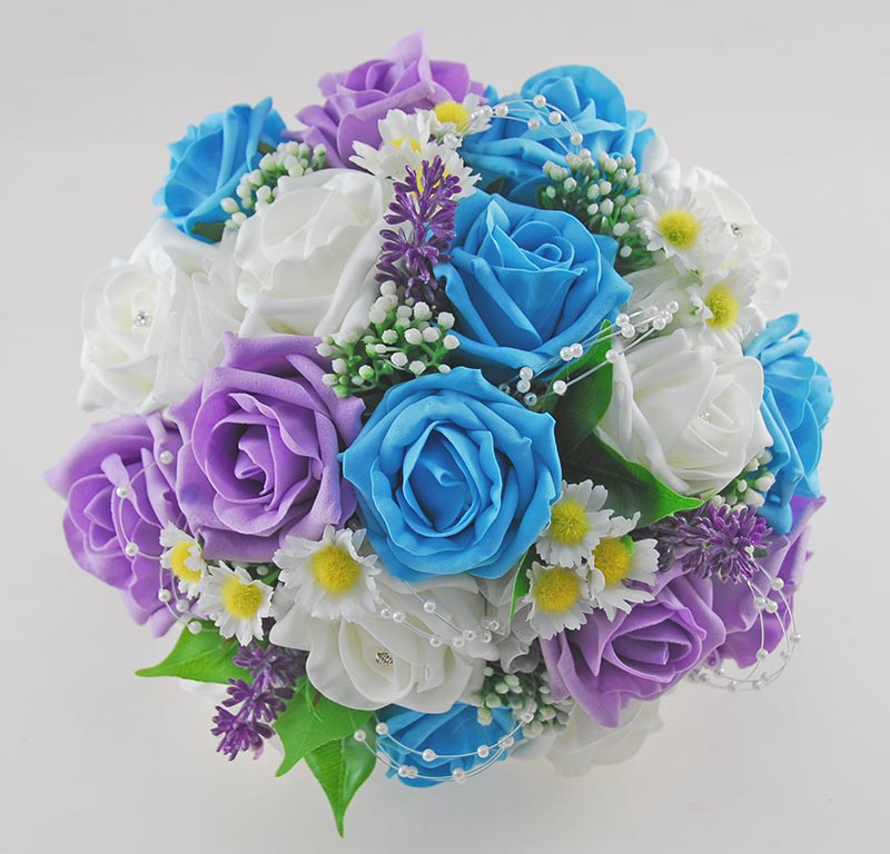 Brides Turquoise, Lilac & Ivory Rose, Daisy Wedding Bouquet