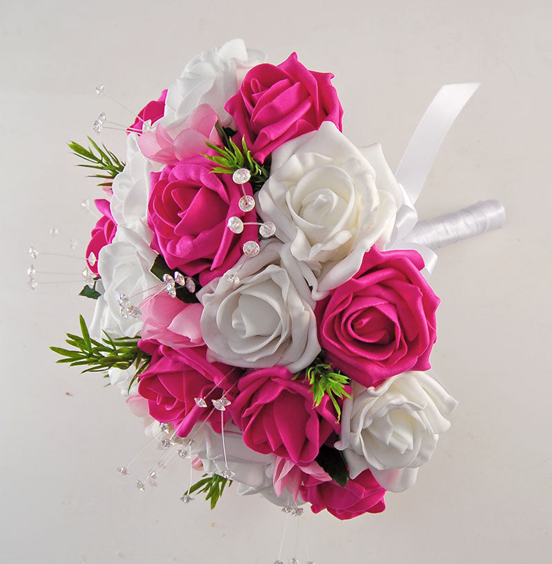 Brides White & Cerise Pink Rose, Rosemary, Crystal & Freesia Wedding Bouquet