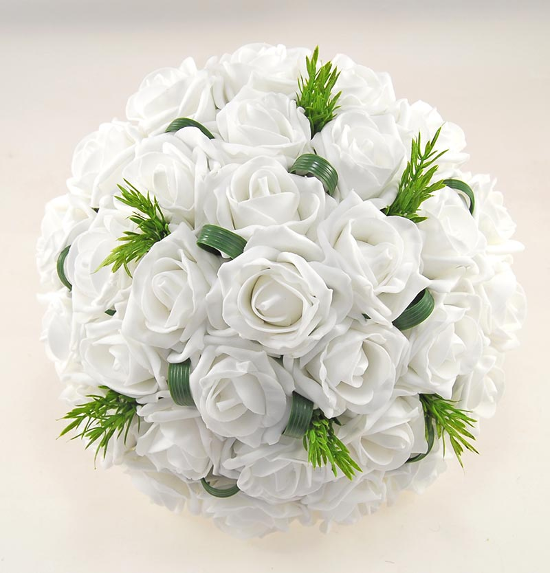Brides White Foam Rose & Rosemary Wedding Posy Bouquet