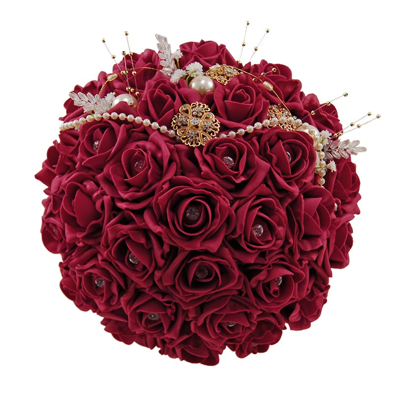 Brides Burgundy Diamante Rose, Gold Brooch & Pearl Wedding Bouquet