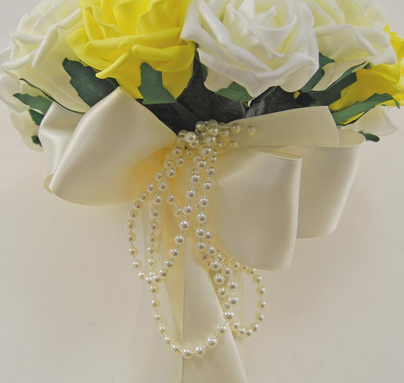 Brides Yellow, Lemon, Ivory Foam Rose & Pearl Bow Wedding Bouquet