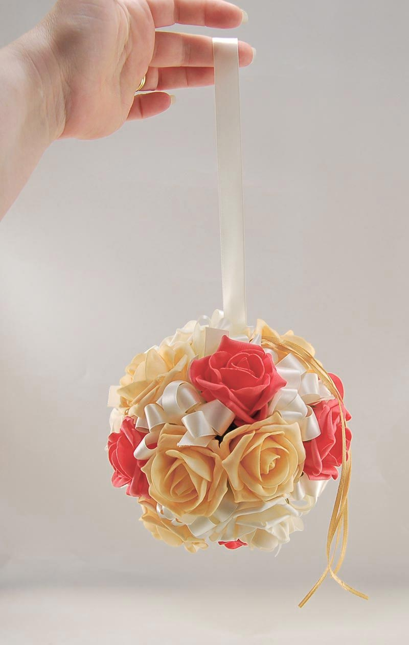 Bridesmaids Mango & Coral Foam Rose Pomander Flower Ball