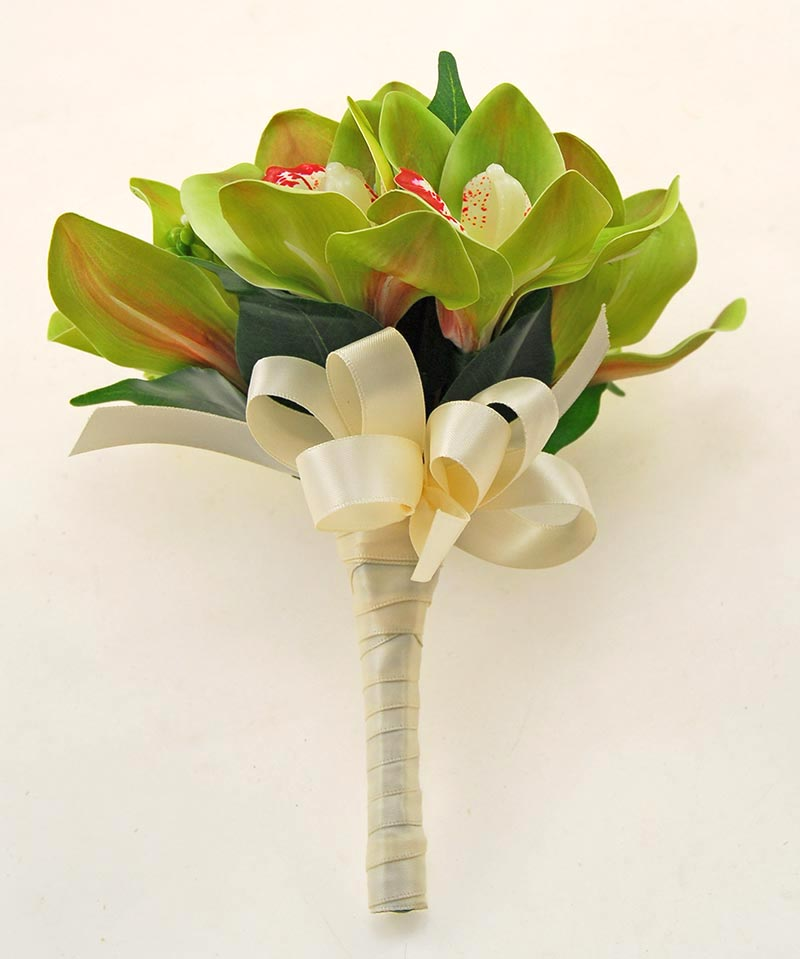 Bridesmaids Apple Green Artificial Orchid Wedding Posy
