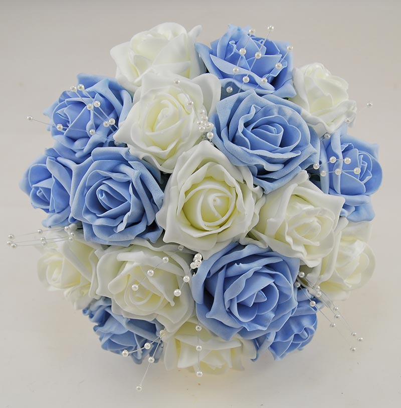 Light Blue & Ivory Foam Rose Amelia Wedding Flower Package with Brides Bouquet, Bridesmaids Posy, Grooms Buttonhole
