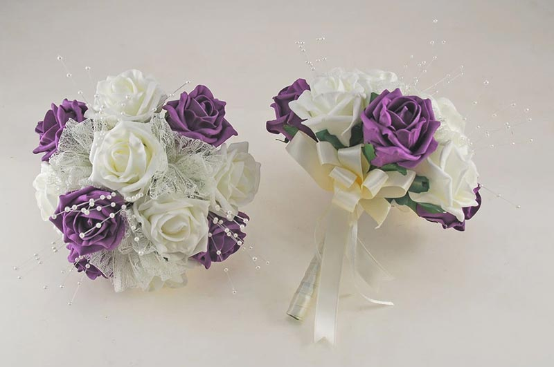 Plum Purple and Ivory Rose Wedding Flower Package, Pearl Strands & Lace Brides Bouquet, Bridesmaids Posies, Flower Girl Wand, Groom, Guest Buttonholes