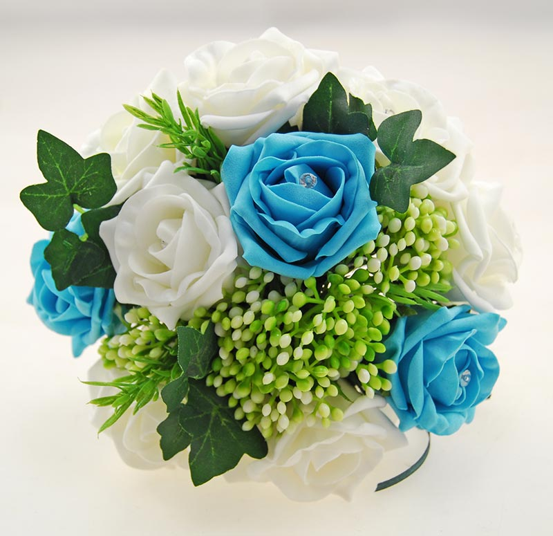 Ivory, Turquoise Diamante Rose, Green Berry & Ivy Agatha Wedding Package