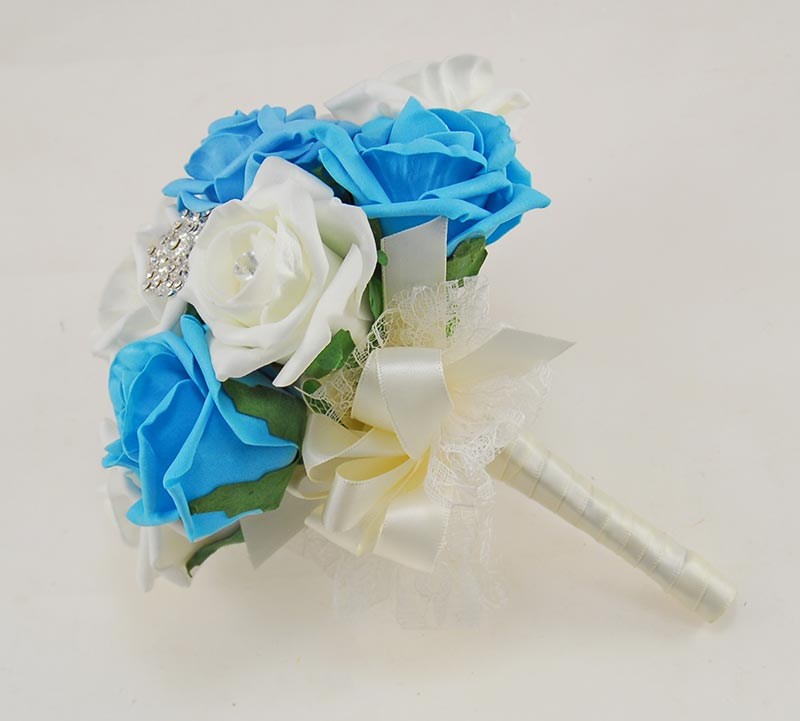Turquoise & Ivory Foam Rose Classic Diamante Brooch Wedding Flower Package
