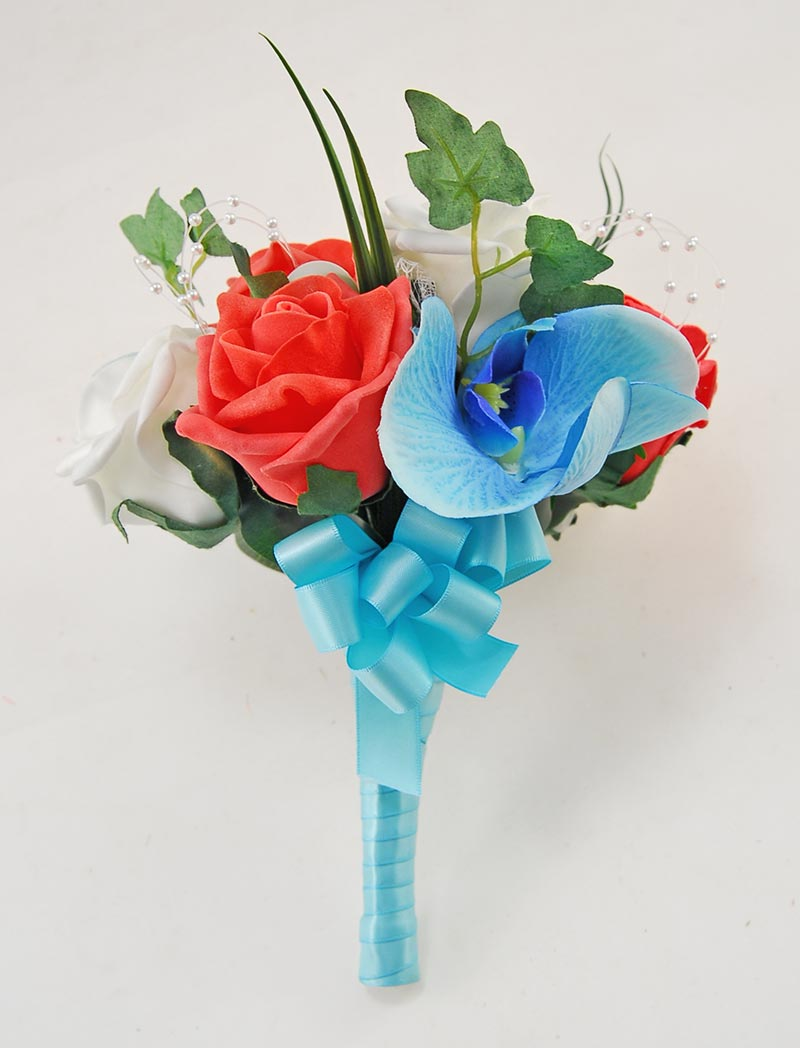 Ursula Aqua Blue Silk Orchid, Coral, Ivory Rose & Pearl Wedding Package